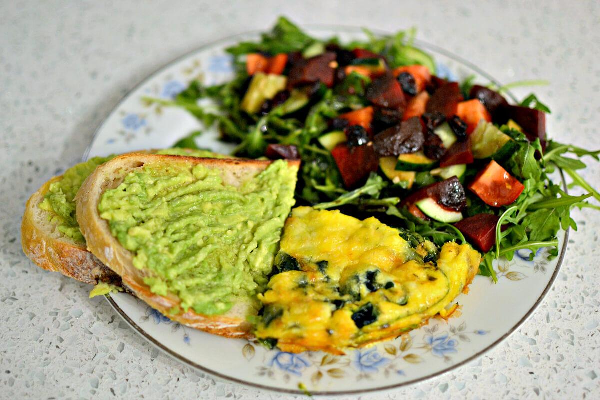 spinach frittata avocado toast