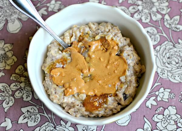 banana egg white oatmeal with peanut butter