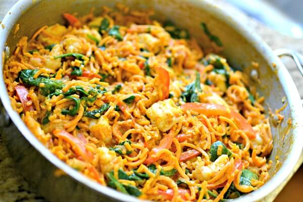 Sweet Potato Noodle Bowls with Coconut Curry Almond Butter Sauce and Shrimp
