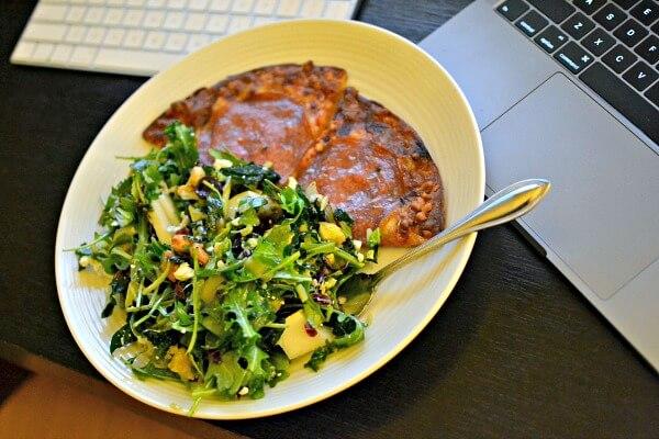 Trader Joe's cauliflower crust pizza and salad