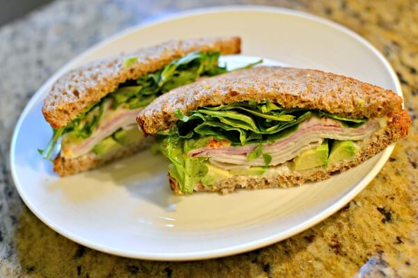 ham, turkey and avocado sandwich on sprouted wheat