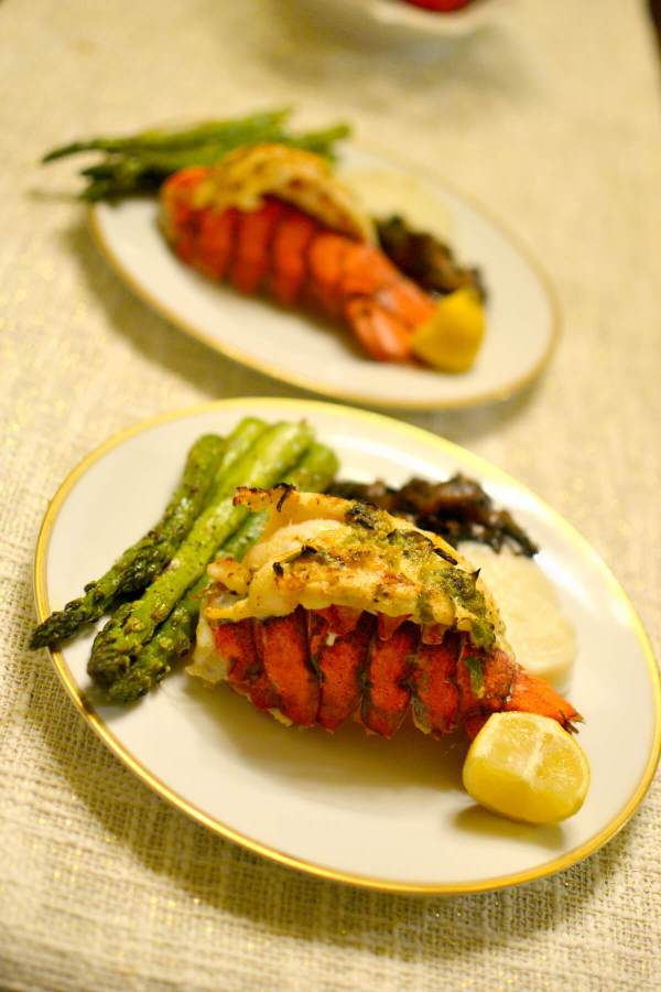 lobster tail, mashed cauliflower, sauteed mushrooms and roasted asparagus