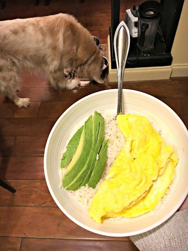 rice, eggs and avocado