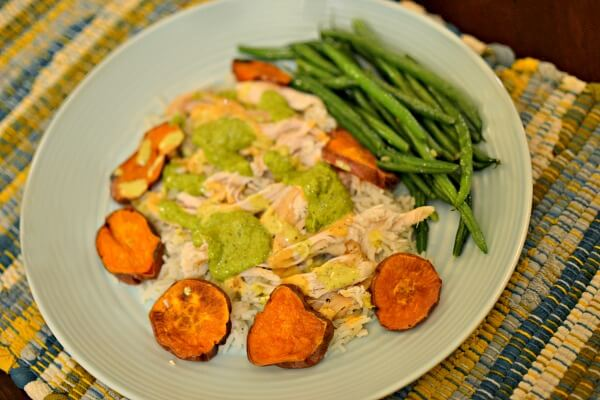 chicken, rice, green beans and roasted sweet potatoes
