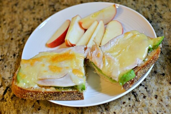 open-faced turkey sandwich on sourdough