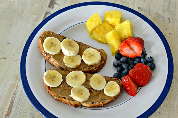 sunflower seed butter toast and fruit