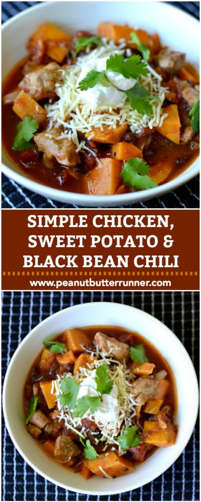 Simple Chicken, Sweet Potato and Black Bean Chili
