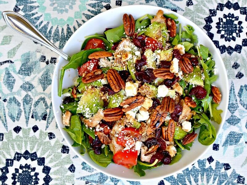 chicken, avocado and pecan salad
