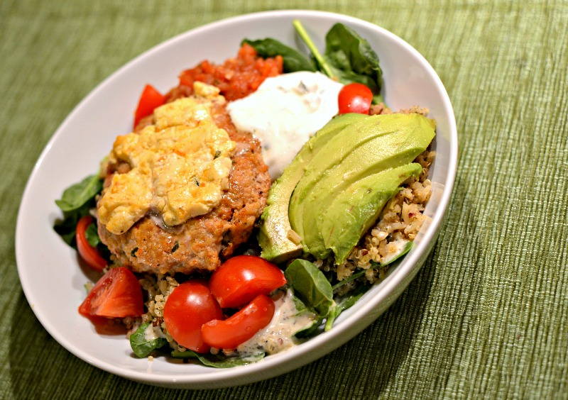 chicken burger bowl