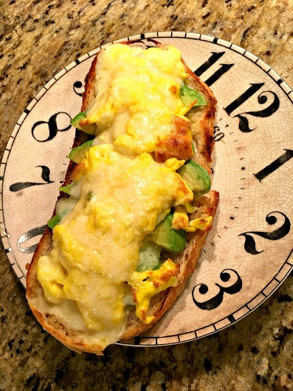 sourdough toast with egg, avocado and cheese