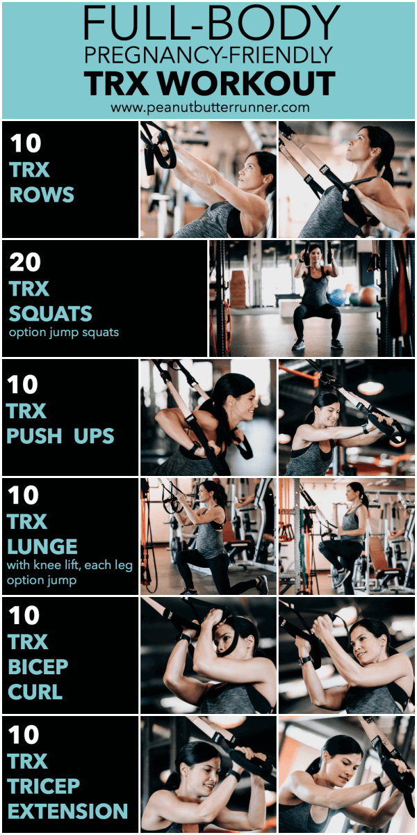 Full-body, pregnancy-friendly TRX workout. This low-impact TRX workout will give you a total body strength training workout without picking up any weights!