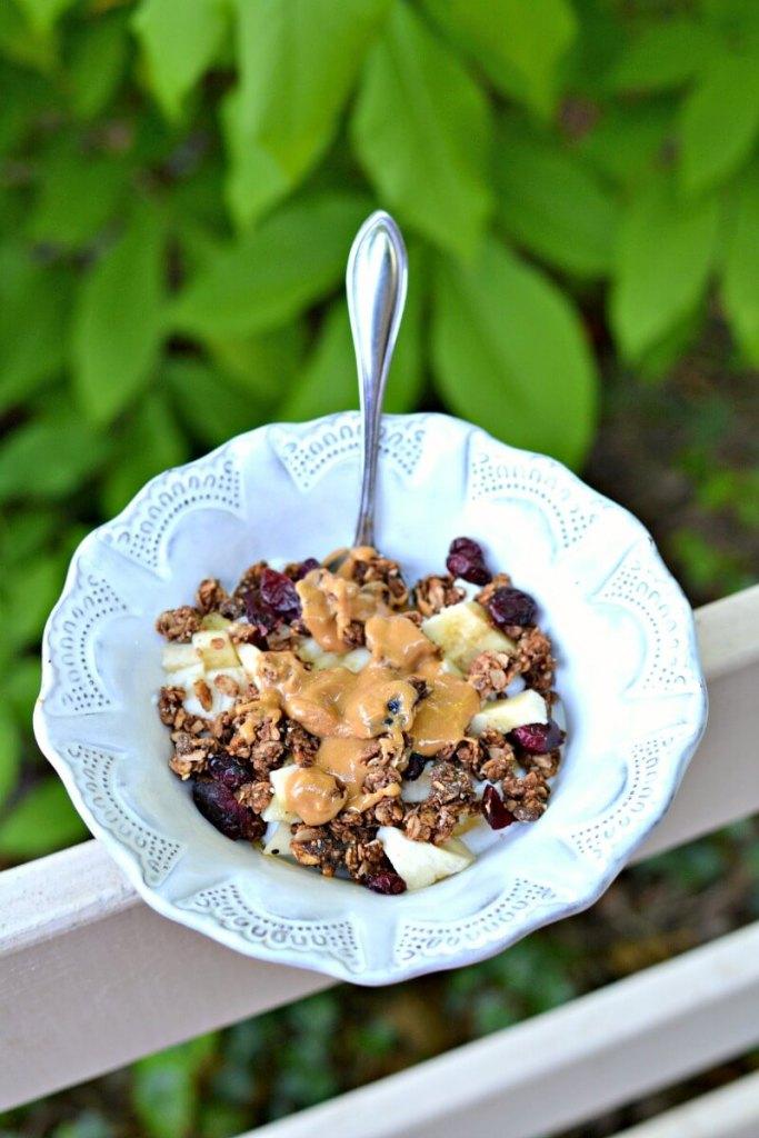 greek yogurt and granola bowl