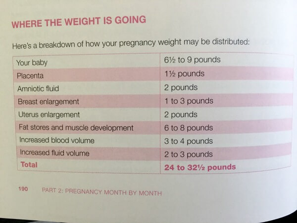 pregnancy weight gain distribution