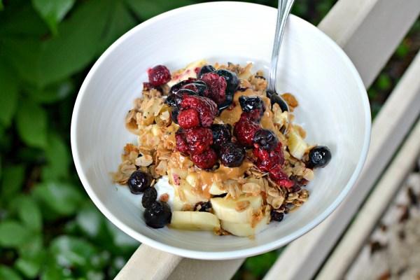 greek yogurt bowl with granola and fruit