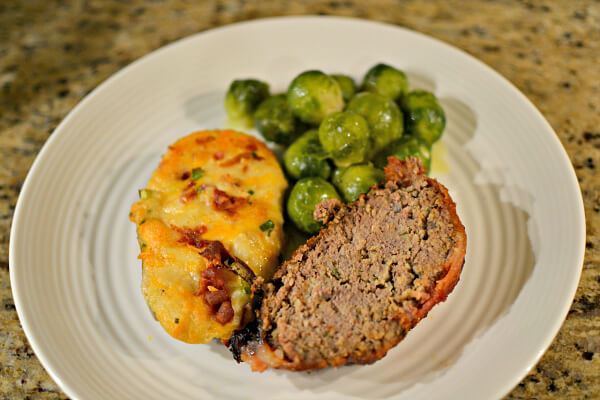 meatloaf, twice baked potatoes and brussels sprouts