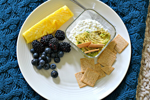 cottage cheese with mashed avocado