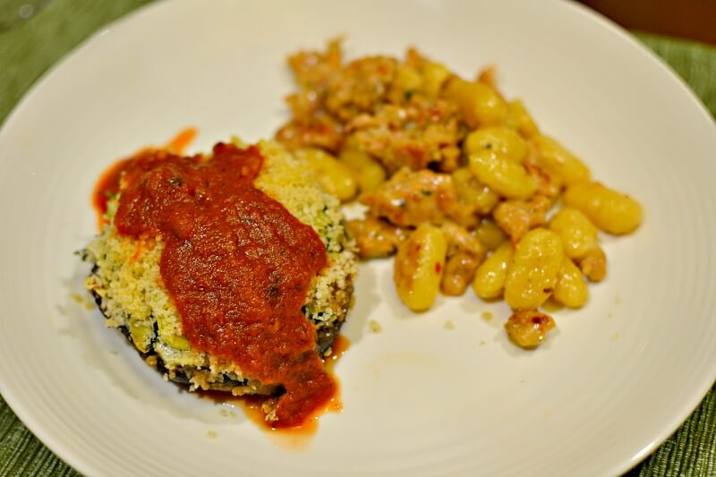 stuffed portobello mushroom and gnocchi