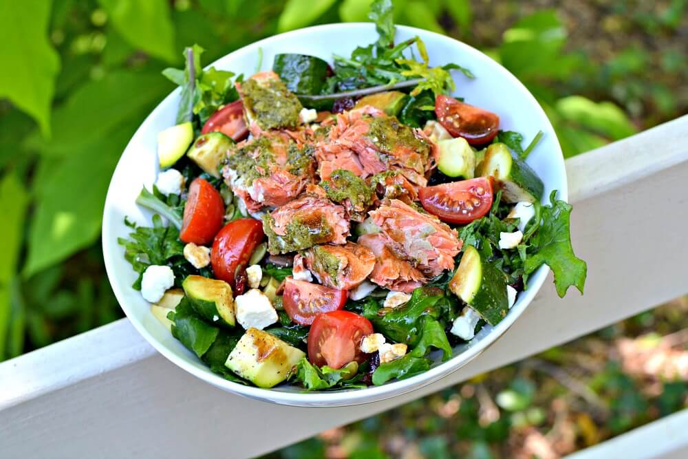 pesto salmon and baby kale salad