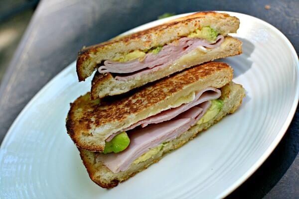 pressed ham sandwich on sourdough