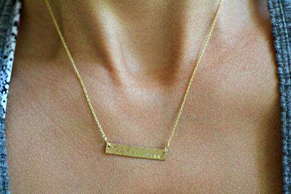 Erin McDermott Jewelry Gold Bar Necklace