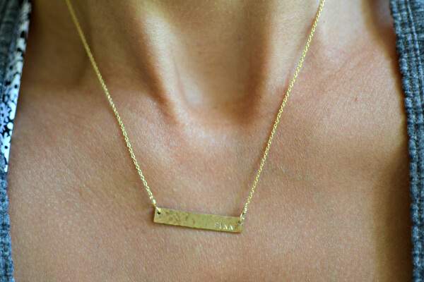 Erin McDermott Jewelry Gold Bar Necklace
