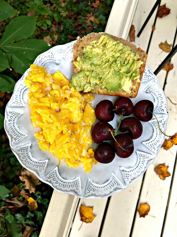 scrambled eggs and avocado toast