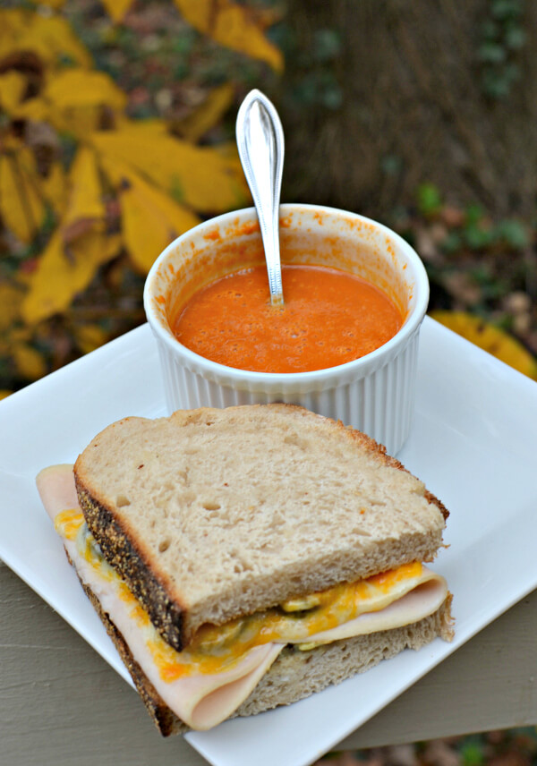 Turkey Sandwich with Tomato Soup