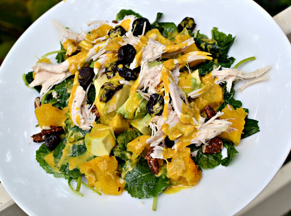kale salad with chicken, roasted acorn squash and avocado