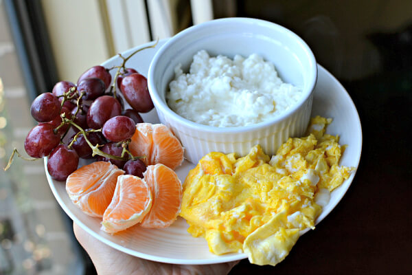 scrambled eggs, cottage cheese and fruit