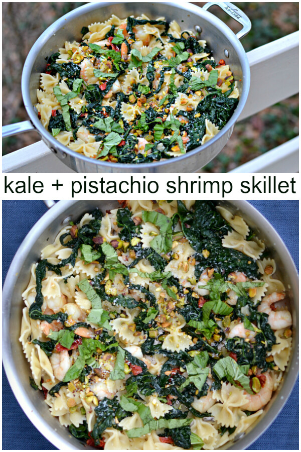 kale and pistachio shrimp skillet