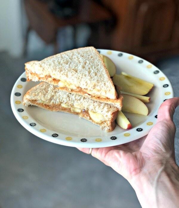 Peanut butter, honey and banana sandwich