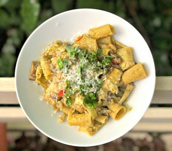 goat cheese pesto pasta with veggies