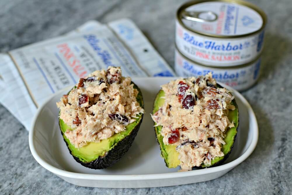 salmon salad stuffed avocado