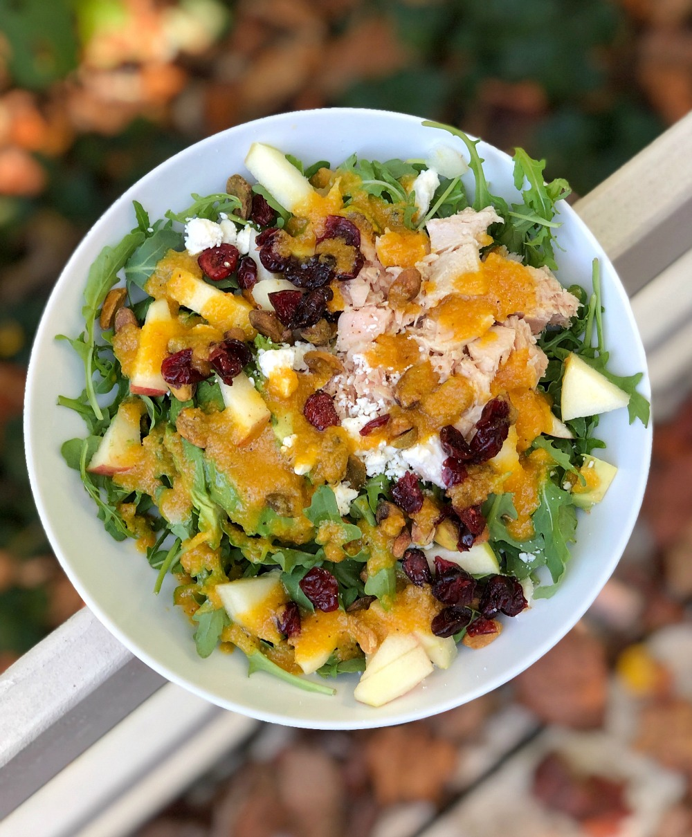 salad topped with tuna