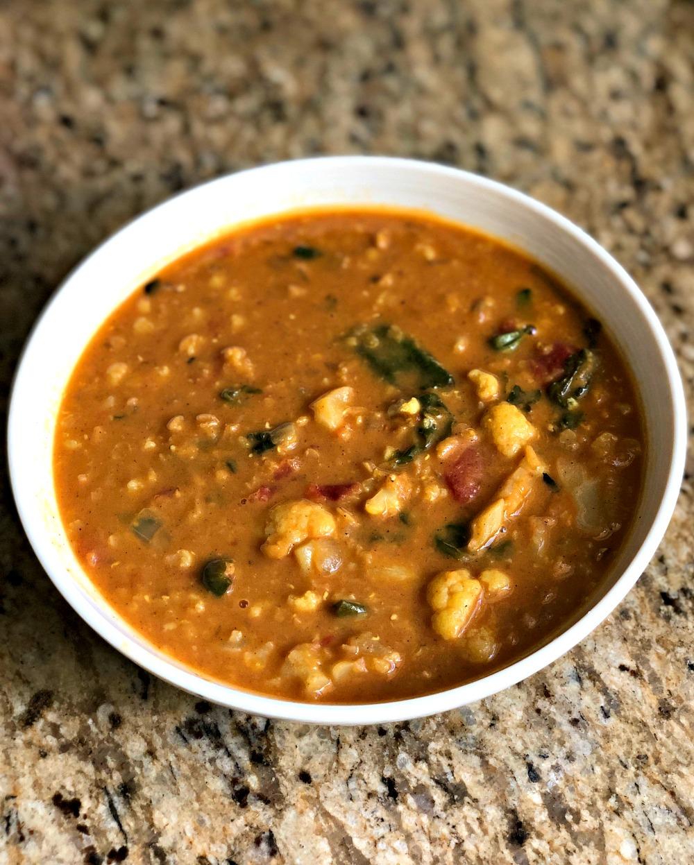 lentil, cauliflower and kale soup
