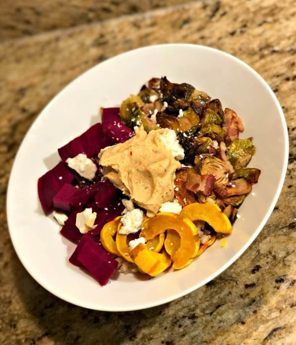 Delicata Squash, Beet and Brussels Sprout Grain Bowl