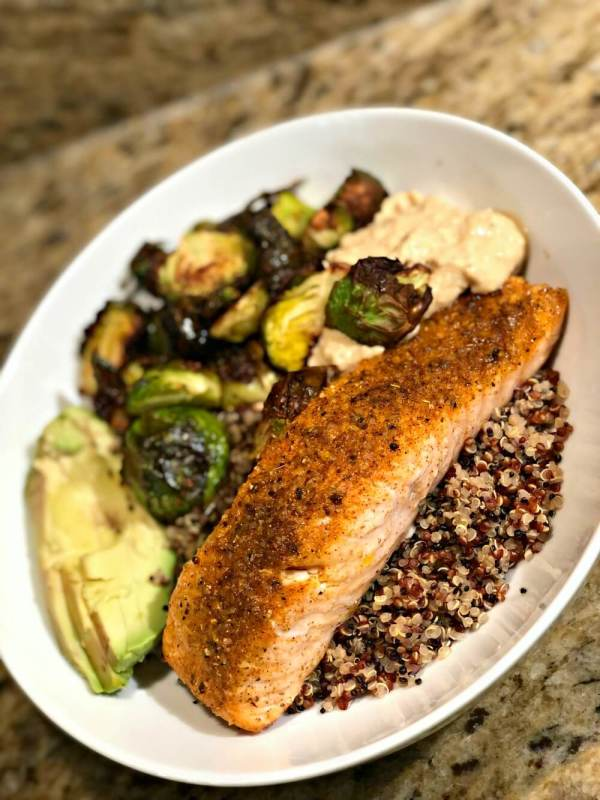 Salmon and Brussels Sprouts Quinoa Bowl