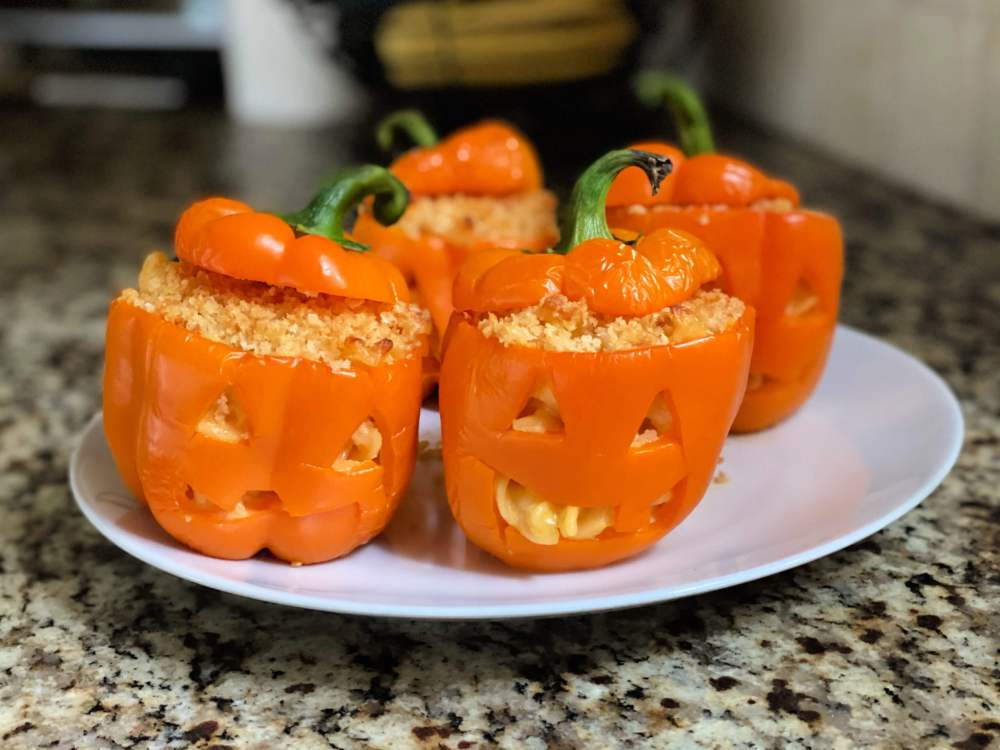 jack o' lantern stuffed peppers