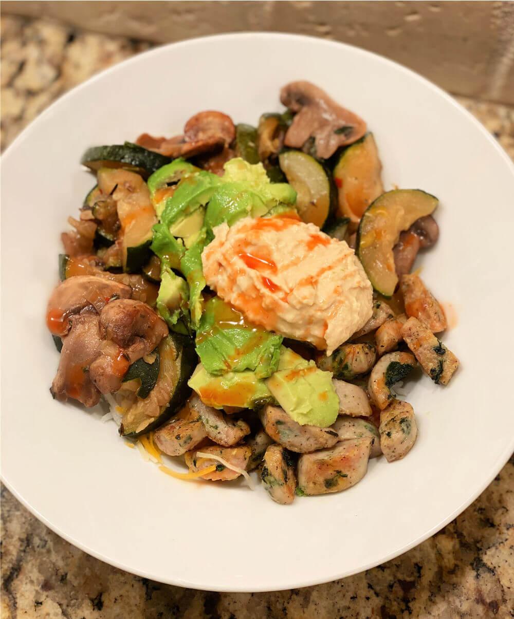 chicken sausage and veggie rice bowl