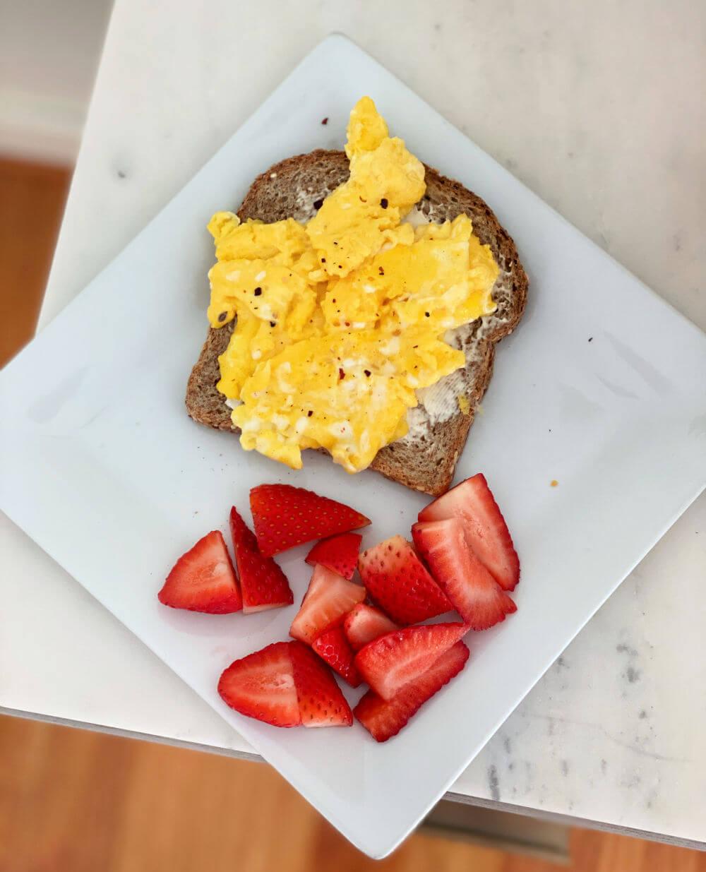 Ezekiel scrambled egg toast