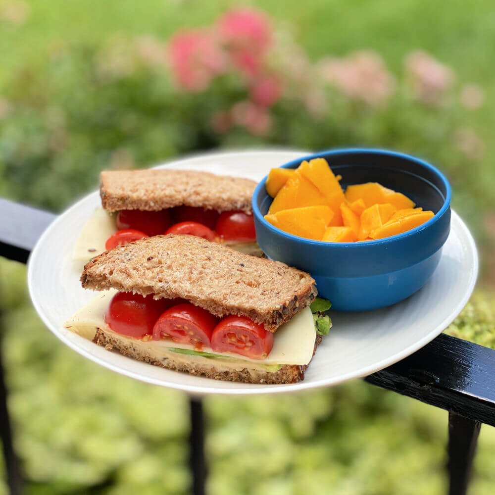 hummus, avocado and cheese sandwich