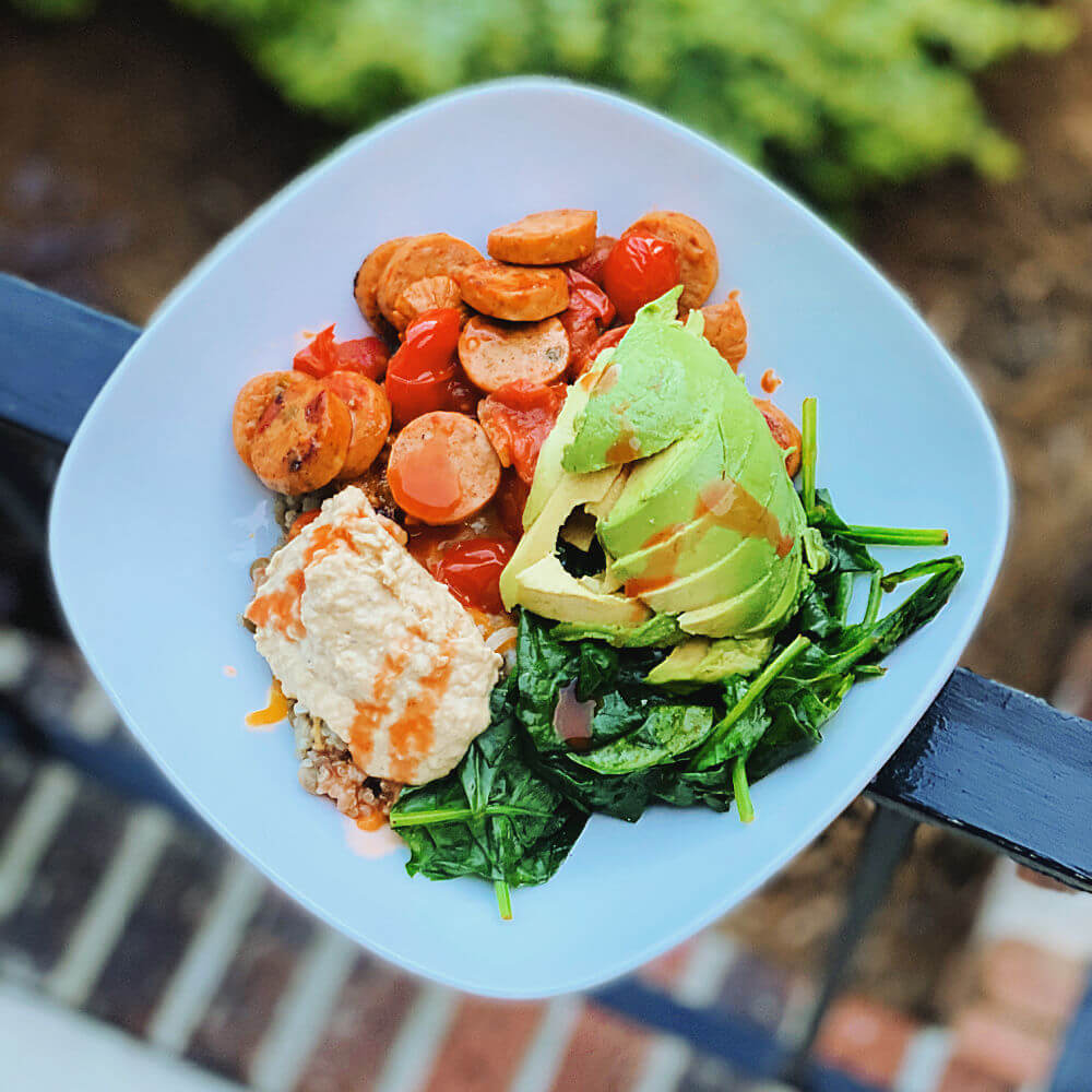 quinoa and chicken sausage bowl