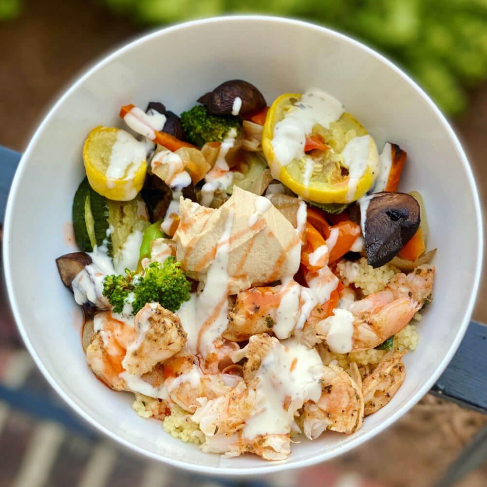 shrimp and veggie couscous bowl