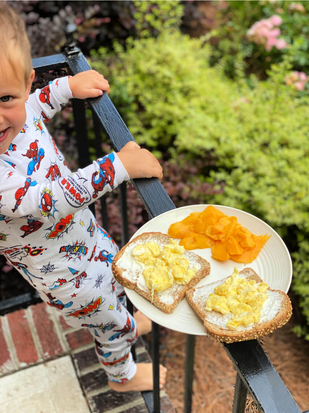 toast with cream cheese and scrambled eggs