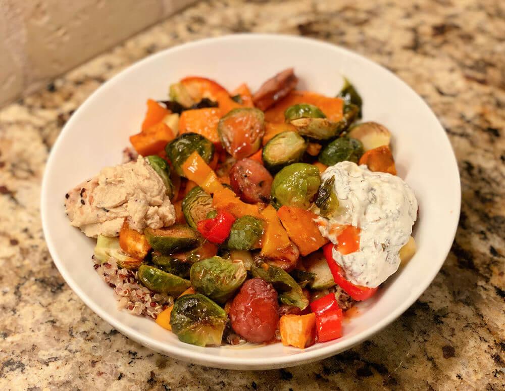 roasted veggie and sausage bowl