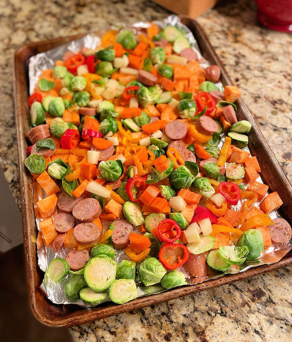 roasted vegetable and sausage sheet pan dinner
