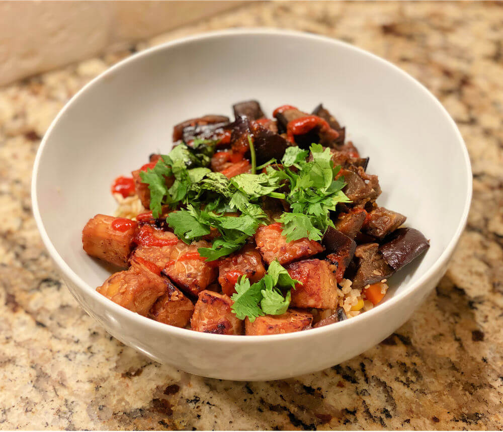 tempeh and eggplant bowl