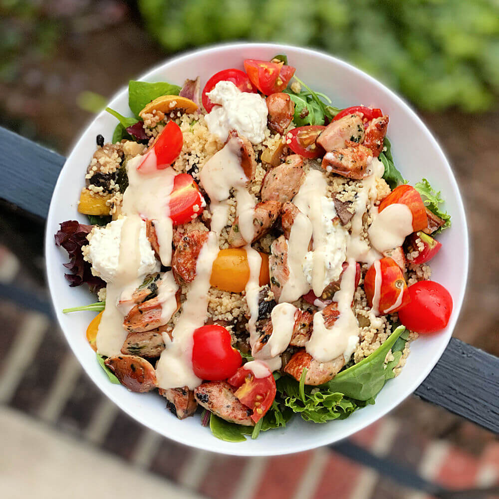 couscous and chicken sausage salad bowl