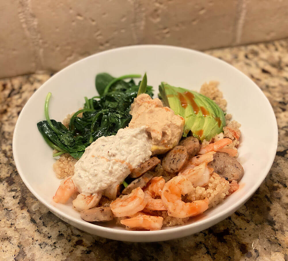 salmon and sausage quinoa bowl