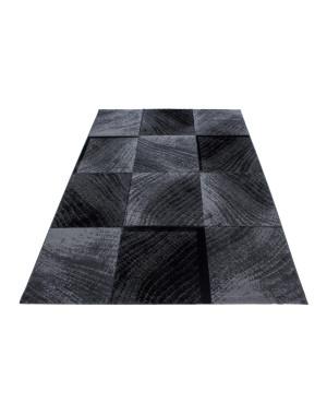 moderne salon tapis a carreaux wellenmotiv plus 8003 noir